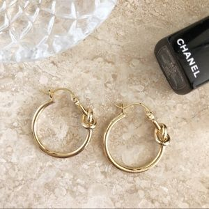 Gold Knot Small Hoops Earrings Minimalist Jewelry